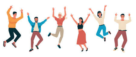 Cartoon happy people. Young men and women laughing. Isolated cheerful characters jumping and waving hands. Teenagers feel positive emotions. Vector human gestures and face expressions