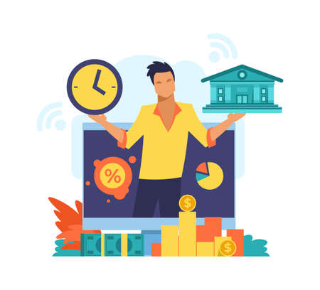 Online mobile bank. Digital banking service concept. Fintech advertising design. Financial transactions and payments. Successful investments or savings. Vector man with money banknotes