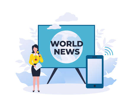 World news. Online reportage showing. Watch journalist review using smartphone. Mass media digital broadcasting. Video information channel for mobile applications. Vector TV streaming