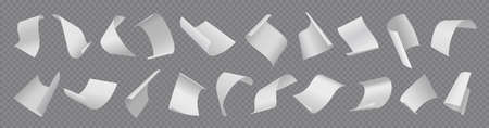 Paper sheets. Flying blank document pages. Realistic falling notes set on transparent background. 3D empty letters loose soar. Curved notepapers with folded corners. Vector memos flight