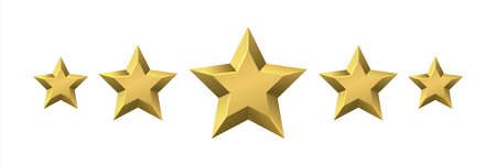 Golden award stars. Realistic customer review and feedback signs. 3D rating shiny icons. Premium quality rank symbol. Users approval or choice. Gold rewards. Vector best product badge