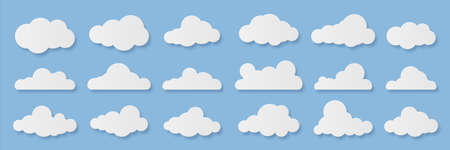 Clouds. Cartoon rainy sky. Paper cut decorative cloudy forms. Fluffy shapes on blue background. Origami templates set. Weather forecast mockup or computing signs. Vector heaven elements