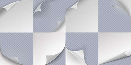 Curled page. Realistic folded paper corners, 3D curve sticker edge effect. Turn sheets templates set. Vector rolled documents with copy space and flip notes on transparent background