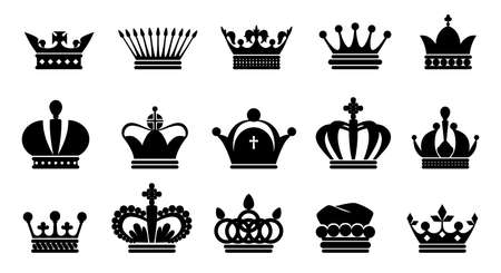 Crown black icons. Royal princess or prince symbol silhouette, king and queen monarch logo collection. Contour medieval imperial headdresses. Vector elegance coronation headwear set Stock Illustratie