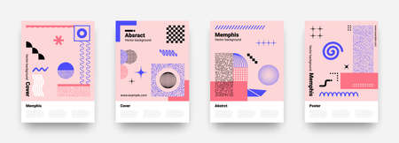 Memphis abstract posters. Notebook cover graphic design. Trendy geometric shapes. Pop art banners set with copy space. Vector curved lines, contour circles and decorative mesh textures Stock Illustratie