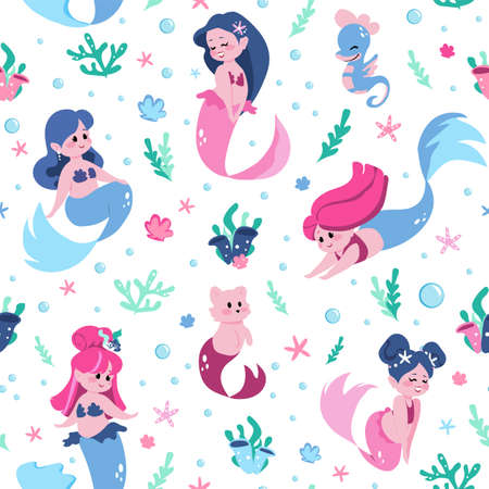Mermaid pattern. Cartoon funny water nymphs seamless background. Cute fairy tale seamaid characters and marine cat with fish tail. Underwater swimming girls. Vector cheerful undines
