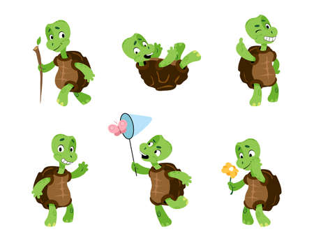 Turtle. Cartoon tortoise mascot. Green comic reptiles with carapaces. Animals activities or emotions. Funny character walking and catching butterfly. Vector marine terrapins gestures set Stock Illustratie