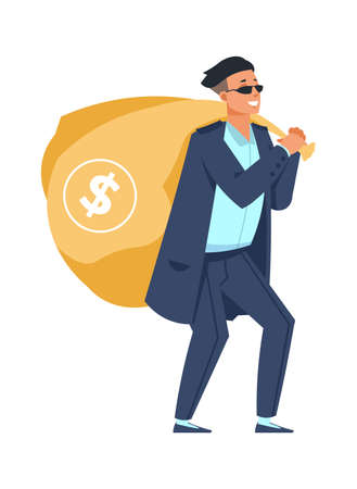Rich man with bag of money. Millionaire carries full sack with dollar sign. Lucky casino player, jackpot winner. Happy wealthy character holding handbag. Vector financial success concept