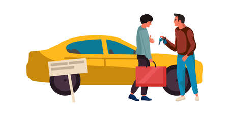 Sale or rent automobile. Agent sells vehicle. Dealer gives key to new auto owner. Car sharing service. People make deal to buy yellow sedan. Men talking outdoor. Vector illustration