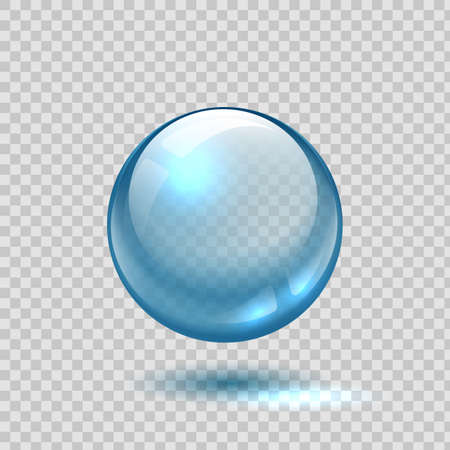 Clear glass bubble. Realistic blue sphere. 3D ball on transparent background. Glossy crystal object with shadow and light reflection. Circle shape lens template. Vector round water drop