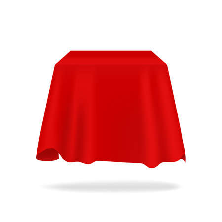 Red silk cover. Realistic secret box hidden under fabric. 3D bright flowing tablecloth mockup with folds. Exhibition drapery. Smooth satin material. Vector blank presentation drape
