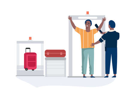 Airport security. Airline employee checking passenger waving scanner. Checkpoint with conveyor x-ray machine and gate. Baggage inspection in departure terminal. Vector travel by plane