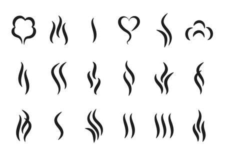 Aroma steam logo. Vapor or smell icons. Hot temperature beverages silhouettes signs. Minimal symbols of boiling and frying cooking pan. Vector water evaporation isolated badges set Stock Illustratie
