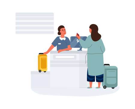 Woman in airport. Female check-in before departure. Passenger hands over luggage and boarding airplane. Character talking to airline employee. People with luggage. Vector traveling