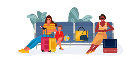 Family at waiting hall or reclaim area. Women and child sitting on bench in airport. Passengers with handbags and suitcases. People resting before flying on airplane. Vector traveling Stock Illustratie