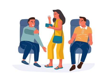 People in airplane. Cartoon men sitting in airplane armchairs and talking to standing woman. Passenger with tickets looking for seat in cockpit. Travel by plane. Vector boarding plane Stock Illustratie