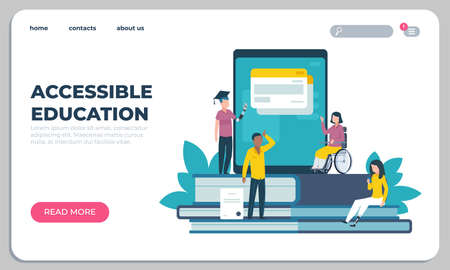 Accessible education landing page. Online learning for disabled people. Website design. Interface template with buttons. Studying assistance for handicapped persons. Vector UI mockup Stock Illustratie