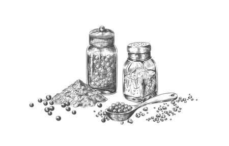 Salt and pepper. Hand drawn mills with seasoning for restaurant menu. Isolated bottles for pungent taste culinary powder. Black and white sketch of condiment and spoon. Vector spicy set