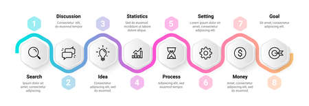 Timeline infographic. Flowchart sequence design. Step horizontal diagram. Workflow process abstract scheme. Business presentation mockup. Project structure. Vector work organization