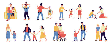 Parents and kids. People walking with happy children. Isolated family scenes set. Mother and father spend time with babies. Dad plays active games. Vector mom and teenager holding hands