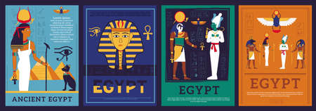 Egypt posters. Covers with Egyptian gods and goddess. Mythological religious symbols and hieroglyphic inscriptions. Ancient architecture buildings. Vector isolated historic banners set