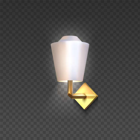 Realistic lamp. 3D light furniture for interior design. Golden electric sconce with lampshade on transparent background. Glowing luminaire hanging on wall. Vector modern chandelier