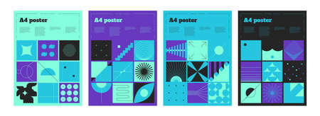 Bauhaus banners. Abstract minimal A4 posters. Geometric shapes and lines in square frames. Blue or purple placards set. Scandinavian art collage. Vector bright flyers with copy space 向量圖像