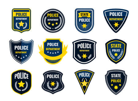Police badge. Security department shield symbols. Federal government authority banners set. Sheriff signs with yellow stars and plant wreaths. Vector cop stickers or policeman patches