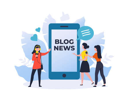 Blog news. Online newspaper. Mass media broadcasting. Network channel for journalists reviews. Woman recording reportage. Blogger speaking into microphone. Vector vlog live streaming