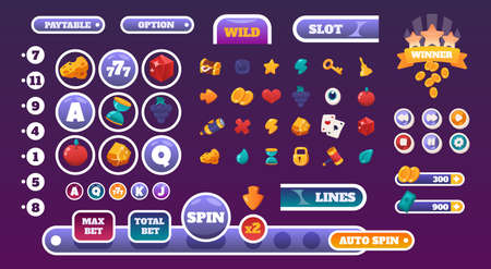 Gambling UI elements. Slots gameplay cartoon graphic kit with casino icons. Colorful online game interface progress bars and buttons mockup. Panels design or menu headers, vector set