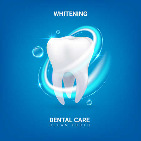 Dental care. Realistic clean 3D tooth. Whitening enamel or oral hygiene. Dentist service advertising banner with lettering. Professional teeth treatment. Vector dentistry and healthcare 矢量图像