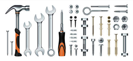 Realistic mechanic tools. 3D construction instrument set. Metal wrench and hummer, isolated screwdriver. Iron nails or screws with dowels. Hex nuts and eye hook. Vector hardware store 矢量图像