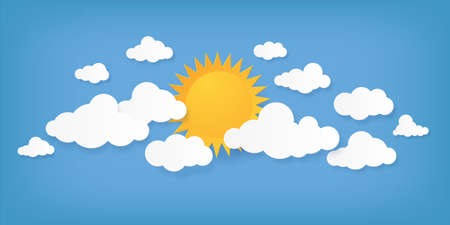 Paper cut clouds. Origami cloudscape. Sun and cloudy shapes on blue background. Creative minimal applique. Sunny weather forecast mockup. Summer daytime sky. Vector natural illustration 向量圖像