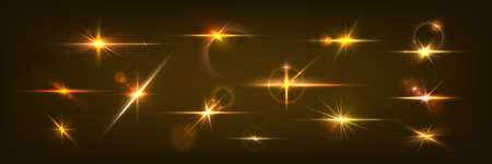 Golden light flare. Glowing glare and realistic shining effect. Blinding sunshine mockup. Lens glints or camera flash. Isolated single glittering particle. Vector bright sparkle template