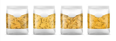 Pasta package. Realistic spaghetti or noodle bag mockup. Blank macaroni plastic 3D packaging set for branding. Italian food template. Container with copy space. Vector flour products