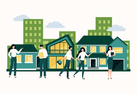 Real estate. Property purchase and mortgage concept. Agents show apartments by buyers. Modern house and cottage residence. Vector people buy or sale of residential buildings and offices