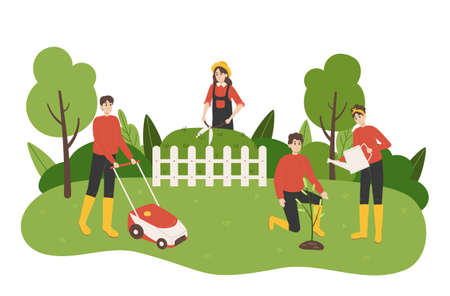 Work in garden. Cartoon people take care of yard. Couple planting and watering trees. Woman trimming green bushes. Man mowing grass with lawn mower. Vector gardeners do agriculture job