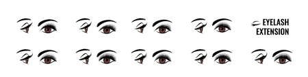 Eyelash extension. False lash shape for doll look. Eye style infographic. Makeup tutorial. Lengthening mascara effect. Salon beauty procedure. Vector front and side view of female face