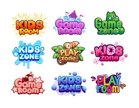 Play room logo. Kids zone banners. Baby entertainment area. Fun activity playground stickers set. Colorful badges with unicorn or monster and bright lettering. Vector playroom signs