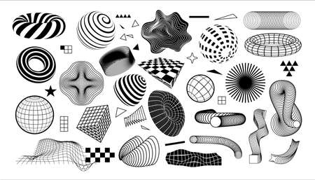 Modern geometric shapes. Abstract graphic elements with dynamic effects. Minimal black and white forms set. Concentric circles or grid textures. Vector checkered and striped figures 矢量图像