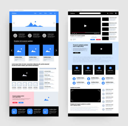 Wireframe. Website landing page mockup with header body and footer. Business portfolio UI template. Photographs gallery and video player. Users account icons. Vector network UX design
