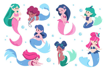 Cute mermaid. Cartoon sea princess with fish tail. Happy marine girl for kids illustration. Isolated undines swimming underwater. Mythological characters set. Vector fairy water nymphs