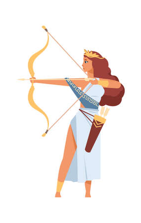 Artemis Greek goddess. Ancient god of hunt. Cartoon mythological divine character shoots from golden bow. Young woman in white toga and wreath with arrows. Vector antique Olympic deity 向量圖像