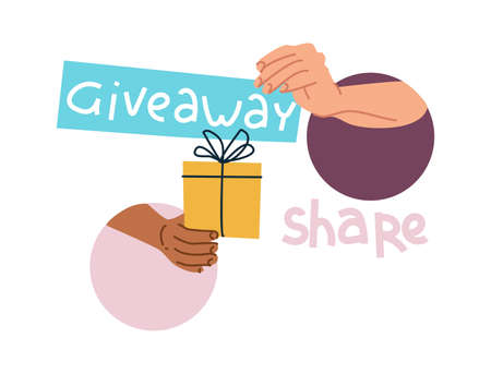 Giveaway gift. Blogger gives presents to subscribers and winners of contests. Arms hands over holiday box. People anonymously share surprises. Vlogger promotion. Vector receiving prizes 向量圖像