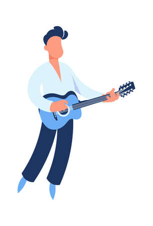 Guitar player. Cartoon guitarist playing music. Man holding string acoustic instrument. Cute performer. Musician standing on stage. Jazz or rock band singer. Vector musical festival 矢量图像