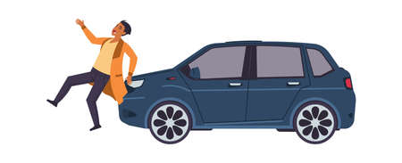 Car hit man. Auto accident concept. Vehicle bumped pedestrian. Man crosses road injured by automobile. Transport collision with walking character. Vector driver violated traffic rules 矢量图像