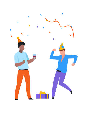 Happy dancing people with funny hats, confetti and drinks. Men celebrating birthday. Young characters with holiday gift boxes and glasses full of wine. Vector friends have fun at party