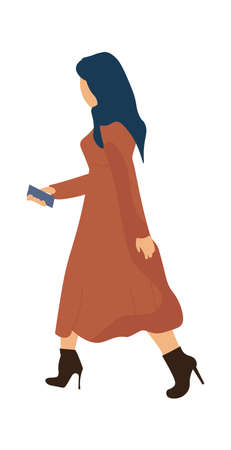 Trendy woman working or going to work. Cartoon modern female character in fashionable dress and high heel shoes. Side view of young brunette walking alone. Vector girl with mobile device