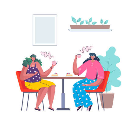 People at cafe. Cartoon women drink coffee with cakes. Females sit at table in restaurant. Characters holding cups in hands. Steam rises from mug. Vector happy persons spend time together 矢量图像