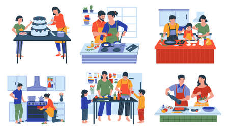Food preparing. Cartoon families and friends cooking at home. Mother with daughter baking holiday cake. Couple frying vegetables and meat for lunch together. Vector kitchen interiors